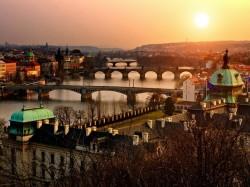 Прага (Чехия) - город на закате